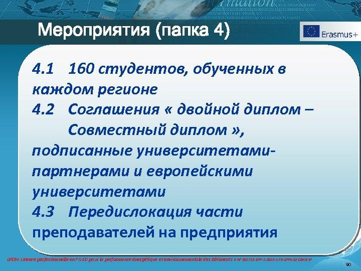 Мероприятия (папка 4) 4. 1 160 студентов, обученных в каждом регионе 4. 2 Coглашения
