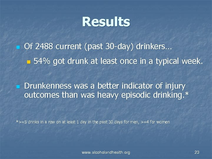 Results n Of 2488 current (past 30 -day) drinkers… n n 54% got drunk