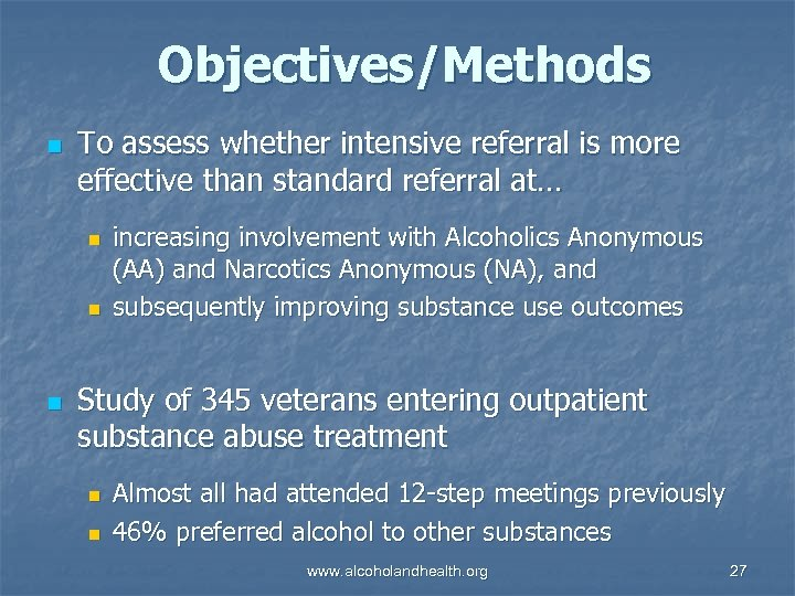 Objectives/Methods n To assess whether intensive referral is more effective than standard referral at…