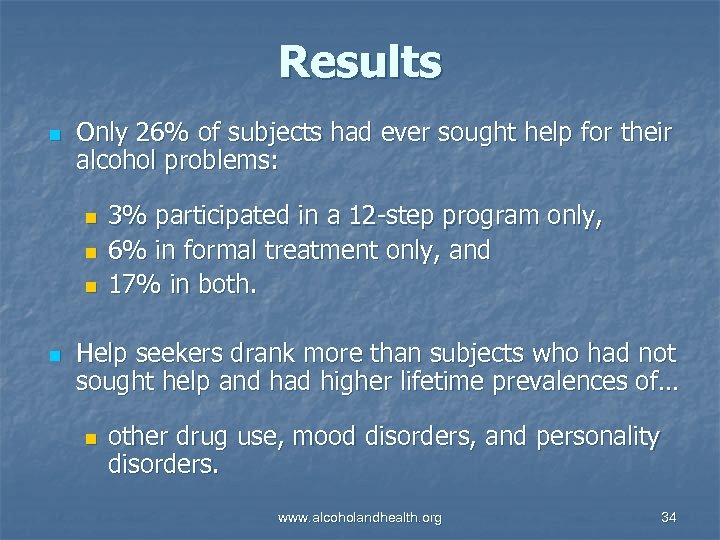 Results n Only 26% of subjects had ever sought help for their alcohol problems:
