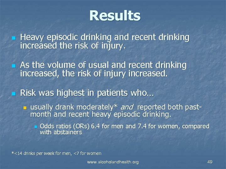 Results n Heavy episodic drinking and recent drinking increased the risk of injury. n