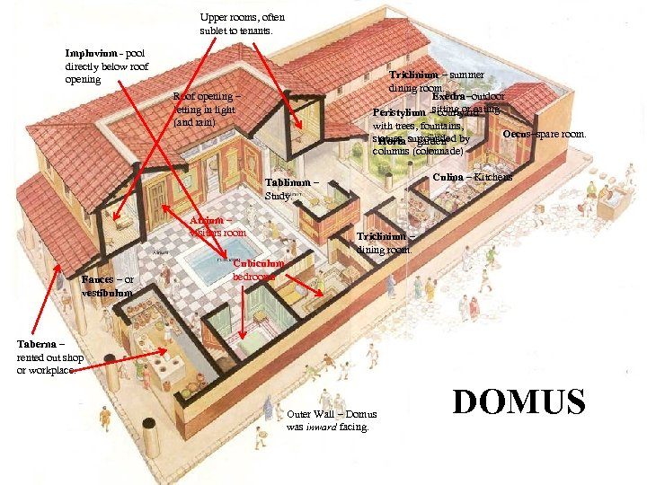 Upper rooms, often sublet to tenants. Impluvium - pool directly below roof opening Triclinium