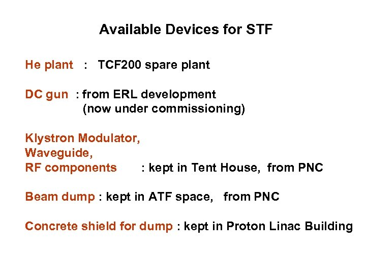 Available Devices for STF He plant : TCF 200 spare plant DC gun :
