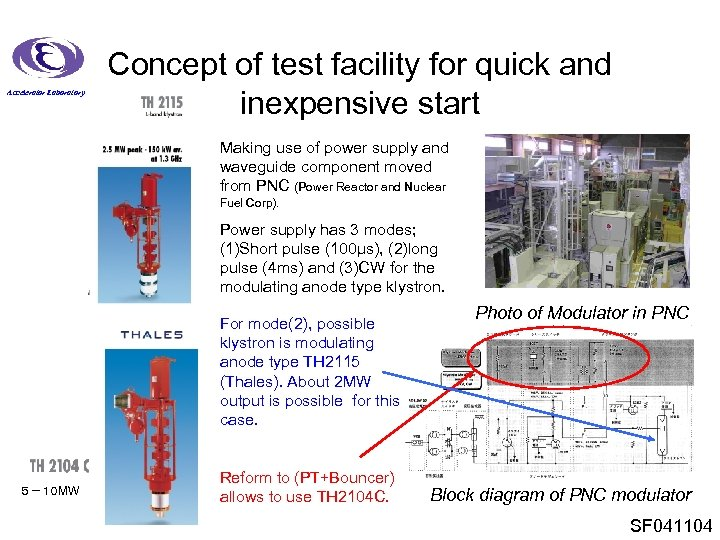 Accelerator Laboratory Concept of test facility for quick and inexpensive start Making use of