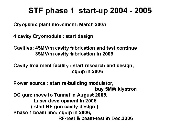 STF phase 1 start-up 2004 - 2005 Cryogenic plant movement: March 2005 4 cavity