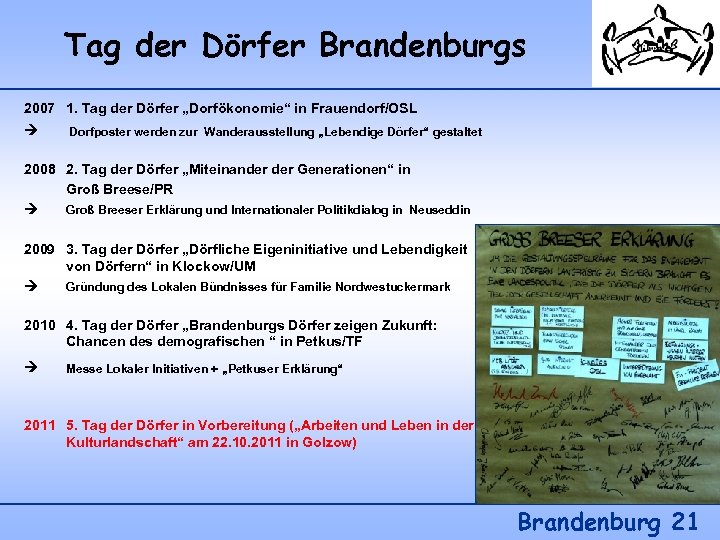 """Tag der Dörfer Brandenburgs 2007 1. Tag der Dörfer """"Dorfökonomie"""" in Frauendorf/OSL Dorfposter werden"""