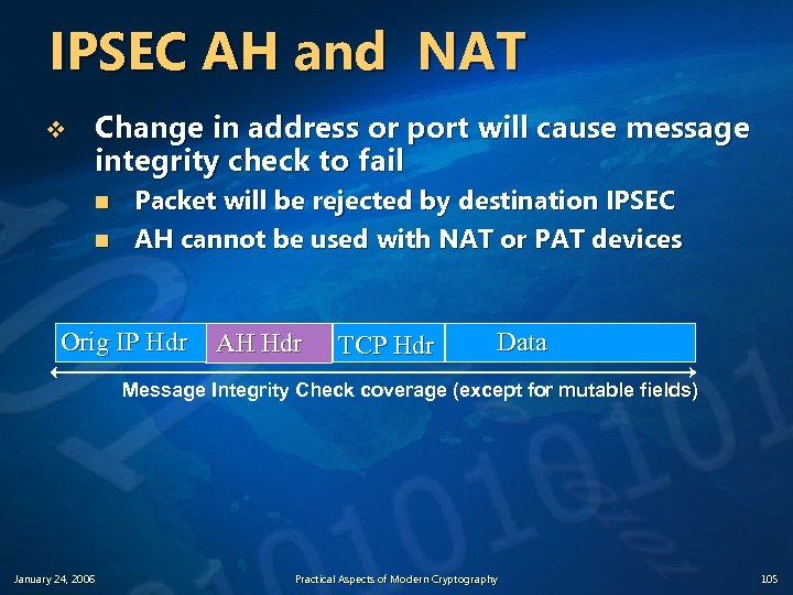 IPSEC AH and NAT v Change in address or port will cause message integrity