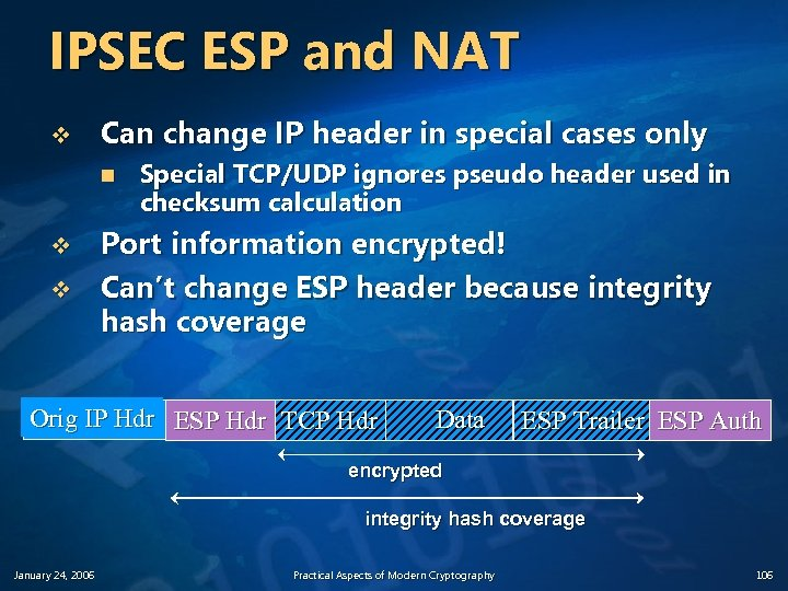 IPSEC ESP and NAT v Can change IP header in special cases only n