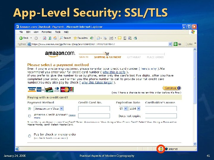 App-Level Security: SSL/TLS January 24, 2006 Practical Aspects of Modern Cryptography 41