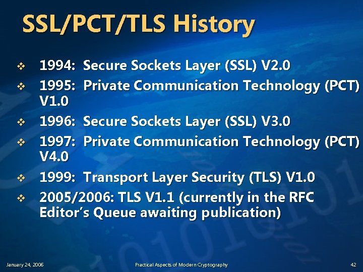 SSL/PCT/TLS History v v v 1994: Secure Sockets Layer (SSL) V 2. 0 1995: