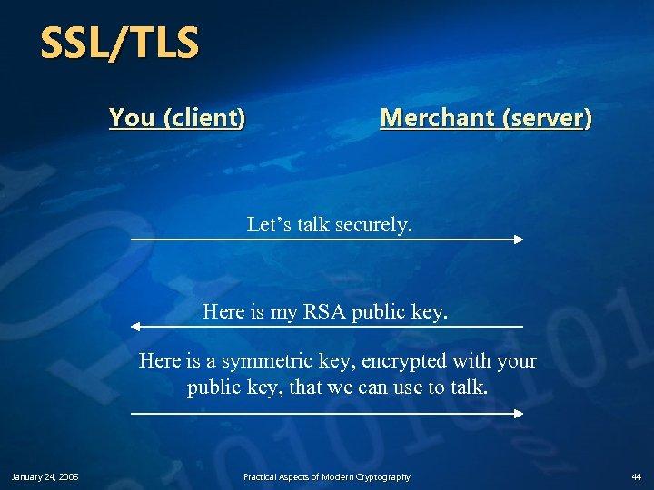 SSL/TLS You (client) Merchant (server) Let's talk securely. Here is my RSA public key.