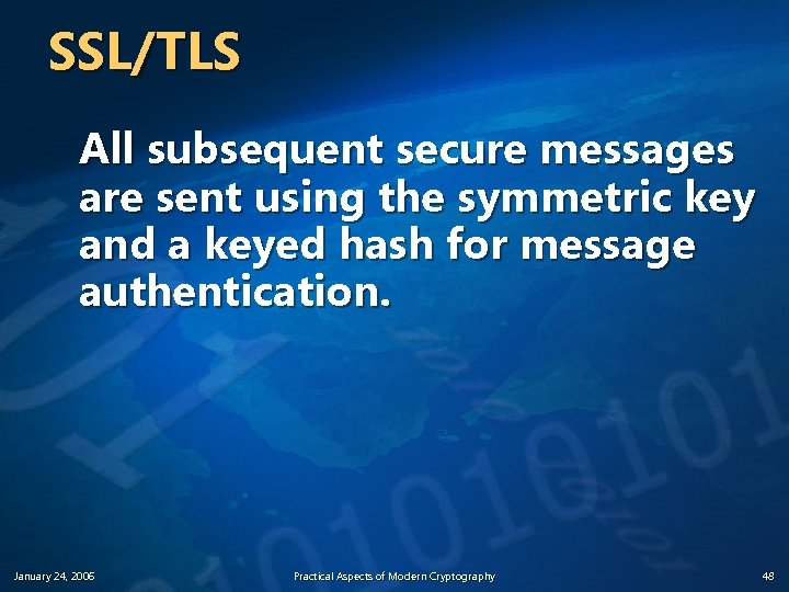 SSL/TLS All subsequent secure messages are sent using the symmetric key and a keyed