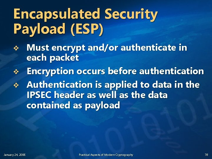 Encapsulated Security Payload (ESP) v v v January 24, 2006 Must encrypt and/or authenticate