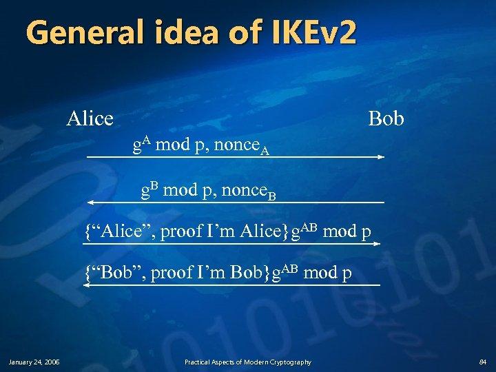 General idea of IKEv 2 Alice Bob g. A mod p, nonce. A g.