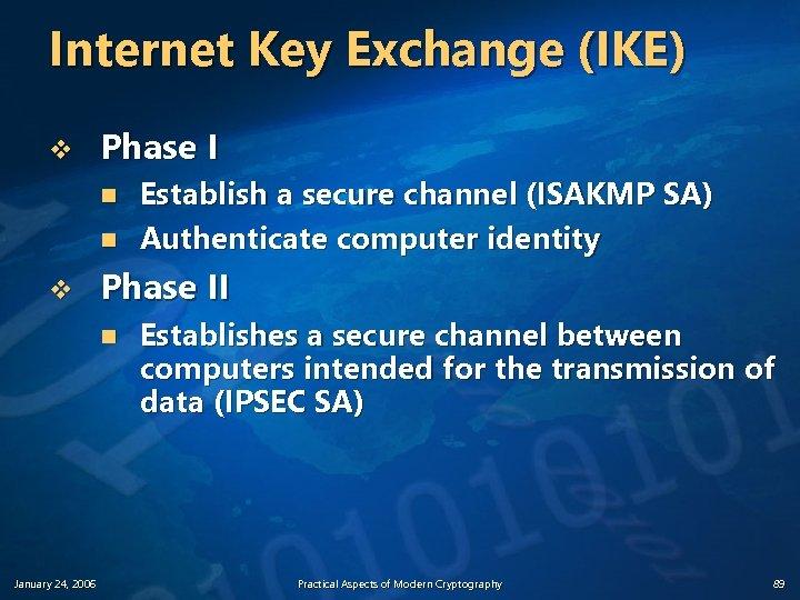 Internet Key Exchange (IKE) v Phase I n n v Phase II n January
