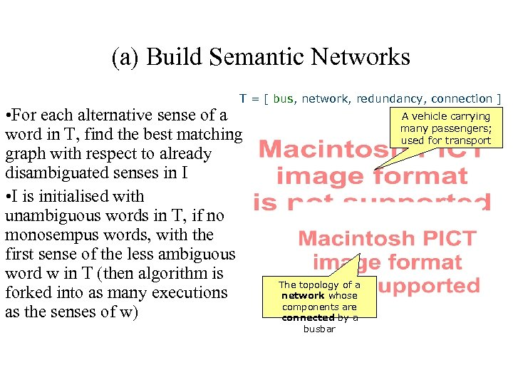 (a) Build Semantic Networks T = [ bus, network, redundancy, connection ] • For