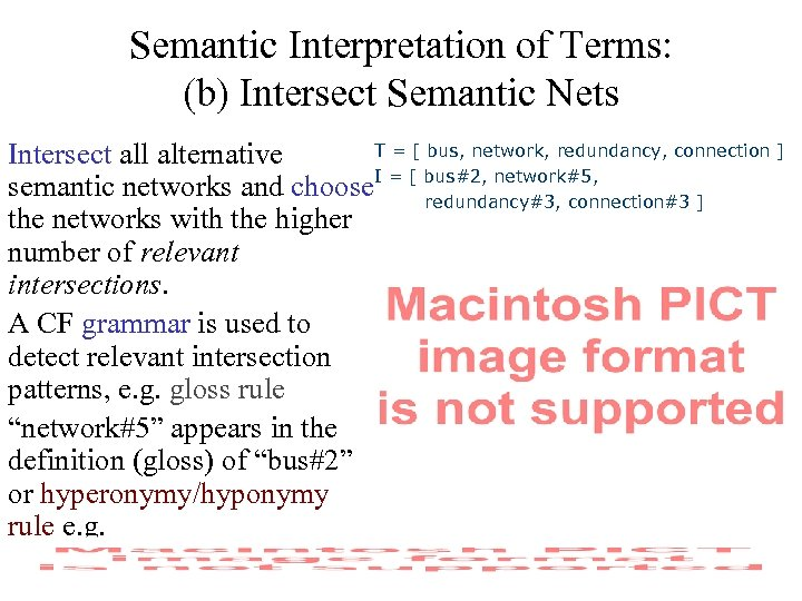 Semantic Interpretation of Terms: (b) Intersect Semantic Nets T = [ bus, network, redundancy,