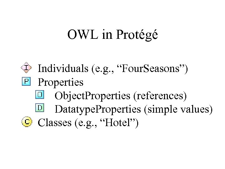 "OWL in Protégé Individuals (e. g. , ""Four. Seasons"") Properties Object. Properties (references) Datatype."