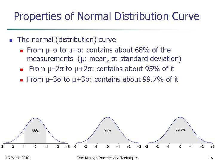 Properties of Normal Distribution Curve n The normal (distribution) curve n From μ–σ to
