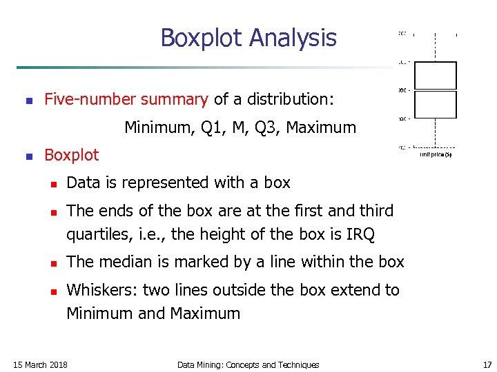 Boxplot Analysis n Five-number summary of a distribution: Minimum, Q 1, M, Q