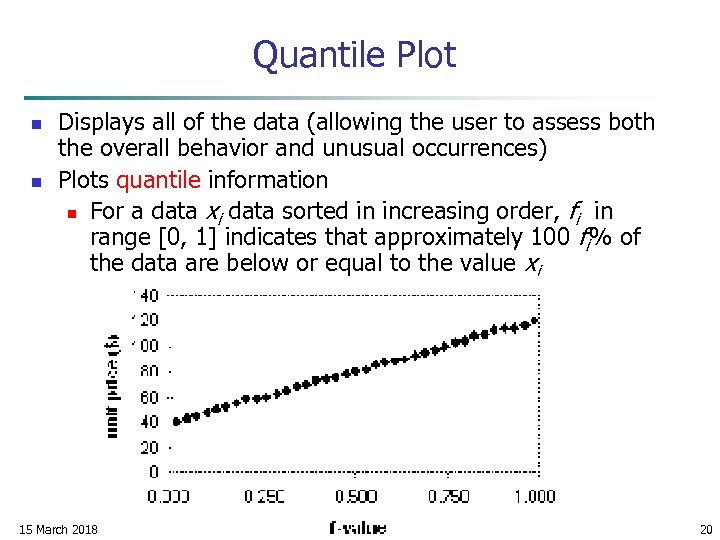 Quantile Plot n n Displays all of the data (allowing the user to assess