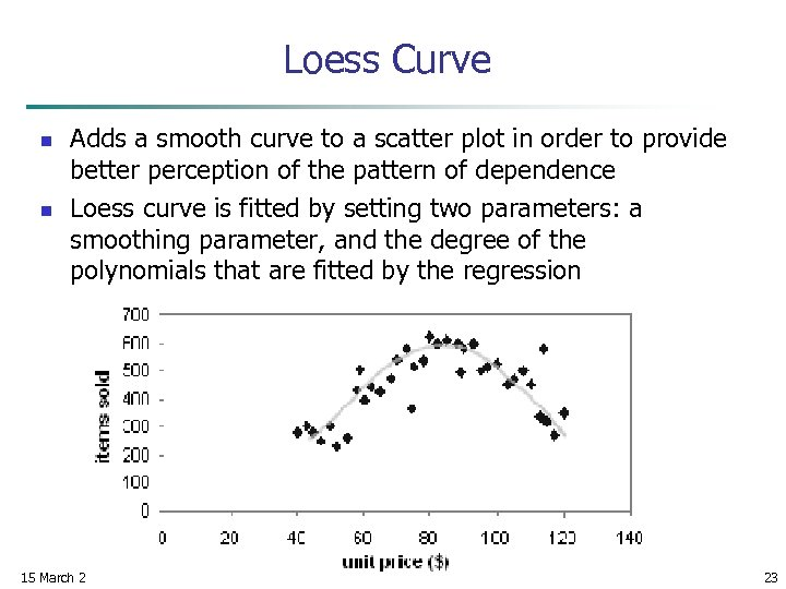 Loess Curve n n Adds a smooth curve to a scatter plot in order