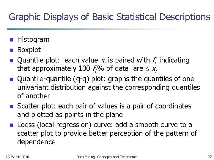 Graphic Displays of Basic Statistical Descriptions n n n Histogram Boxplot Quantile plot: each