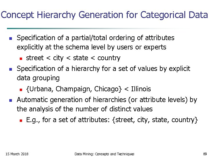 Concept Hierarchy Generation for Categorical Data n Specification of a partial/total ordering of attributes
