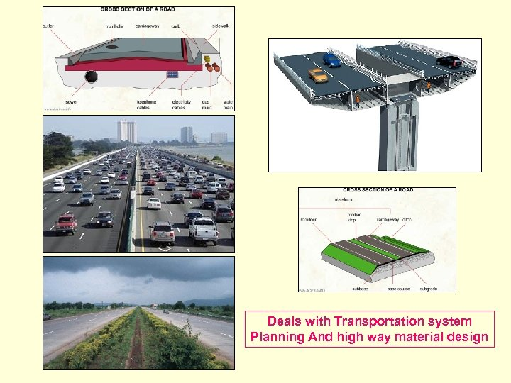 Deals with Transportation system Planning And high way material design