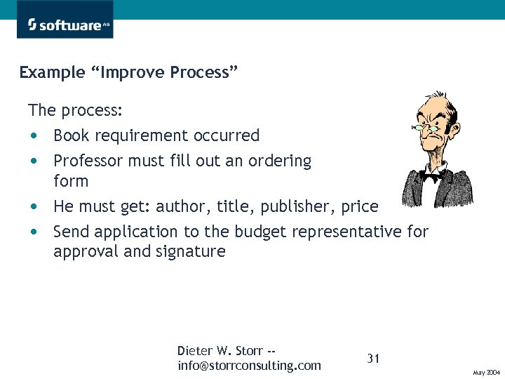 """Example """"Improve Process"""" The process: • Book requirement occurred • Professor must fill out"""