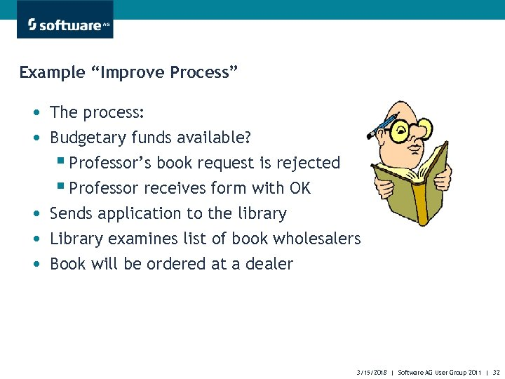 """Example """"Improve Process"""" • The process: • Budgetary funds available? § Professor's book request"""