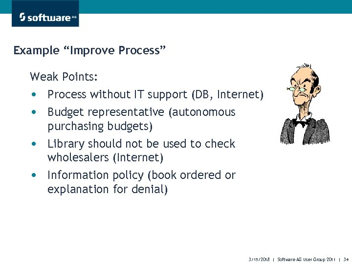 """Example """"Improve Process"""" Weak Points: • Process without IT support (DB, Internet) • Budget"""