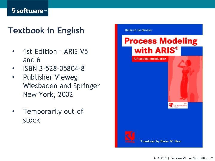 Textbook in English • • 1 st Edition – ARIS V 5 and 6