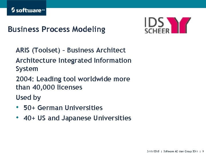 Business Process Modeling ARIS (Toolset) – Business Architecture Integrated Information System 2004: Leading tool