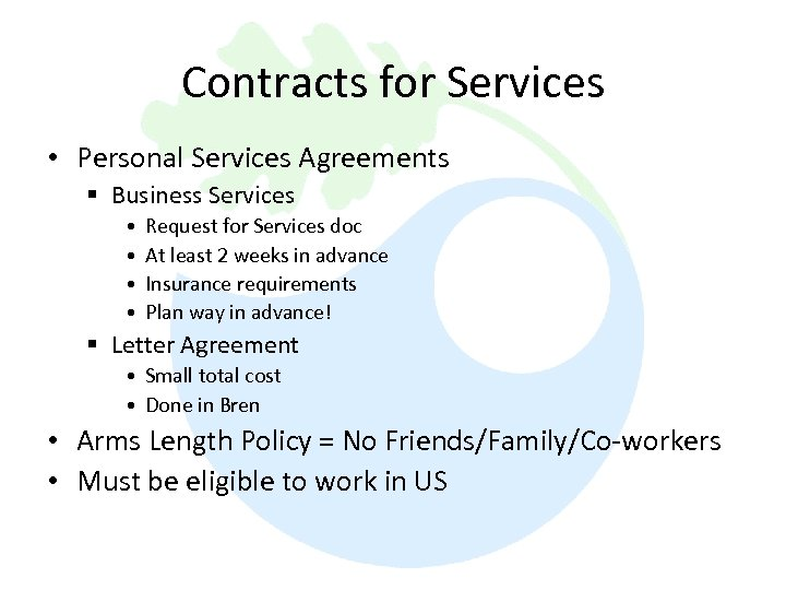Contracts for Services • Personal Services Agreements § Business Services • • Request for