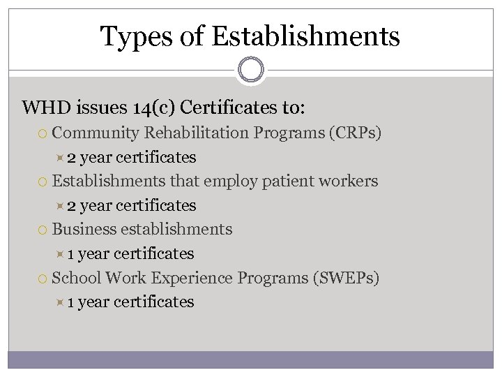 Types of Establishments WHD issues 14(c) Certificates to: Community Rehabilitation Programs (CRPs) 2 year