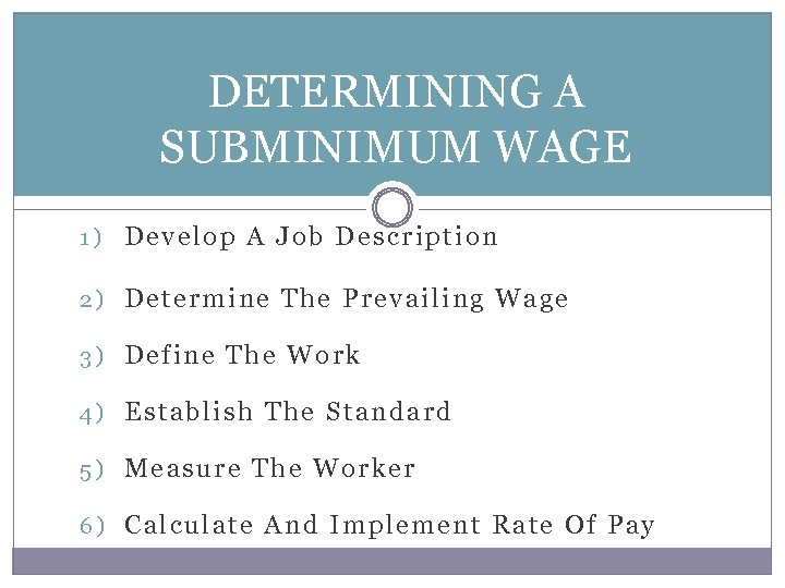 DETERMINING A SUBMINIMUM WAGE 1) Develop A Job Description 2) Determine The Prevailing Wage