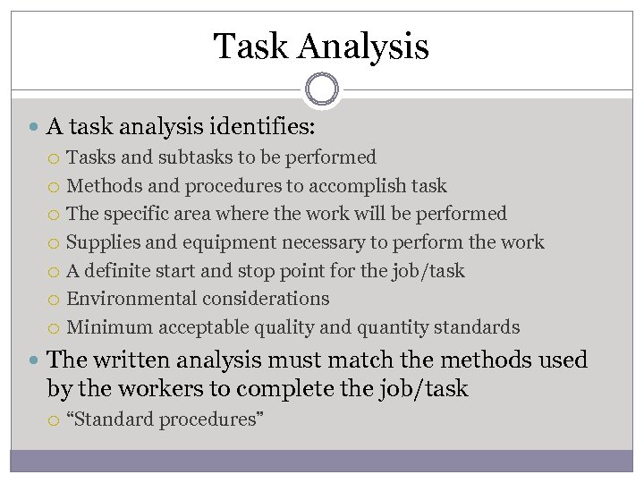 Task Analysis A task analysis identifies: Tasks and subtasks to be performed Methods and