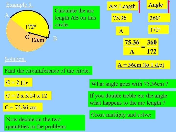 Example 3. 172 o Calculate the arc length AB on this circle. O 12