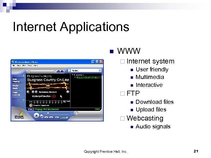 Internet Applications n WWW ¨ Internet system n User friendly n Multimedia n Interactive