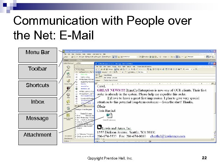 Communication with People over the Net: E-Mail Menu Bar Toolbar Shortcuts Inbox Message Attachment