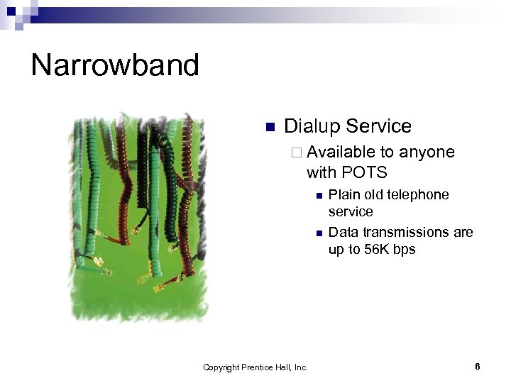 Narrowband n Dialup Service ¨ Available to anyone with POTS n n Copyright Prentice