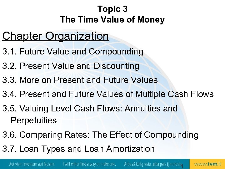 Topic 3 The Time Value of Money Chapter Organization 3. 1. Future Value and