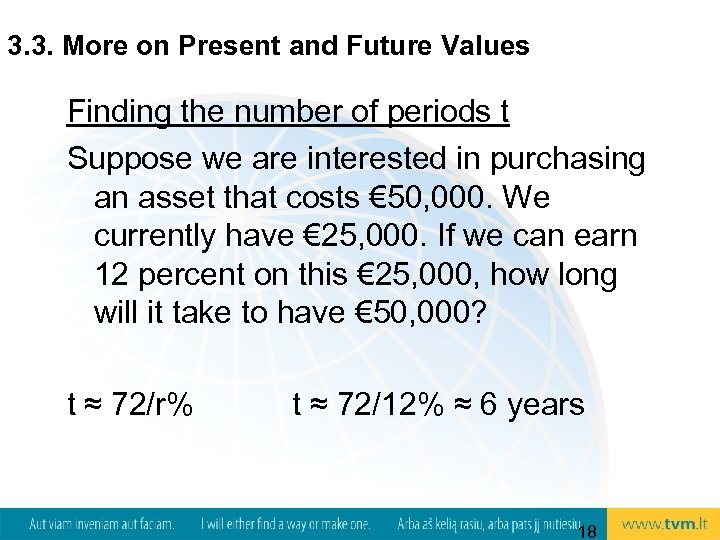 3. 3. More on Present and Future Values Finding the number of periods t