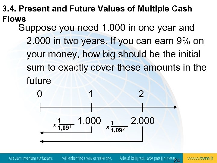 3. 4. Present and Future Values of Multiple Cash Flows Suppose you need 1.