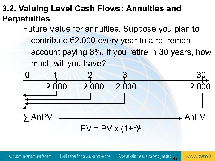 3. 2. Valuing Level Cash Flows: Annuities and Perpetuities Future Value for annuities. Suppose