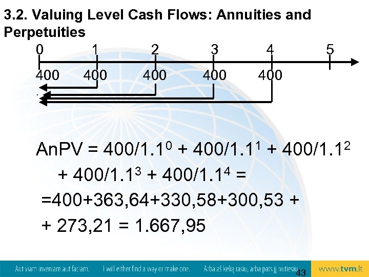 3. 2. Valuing Level Cash Flows: Annuities and Perpetuities 0 1 2 3 4