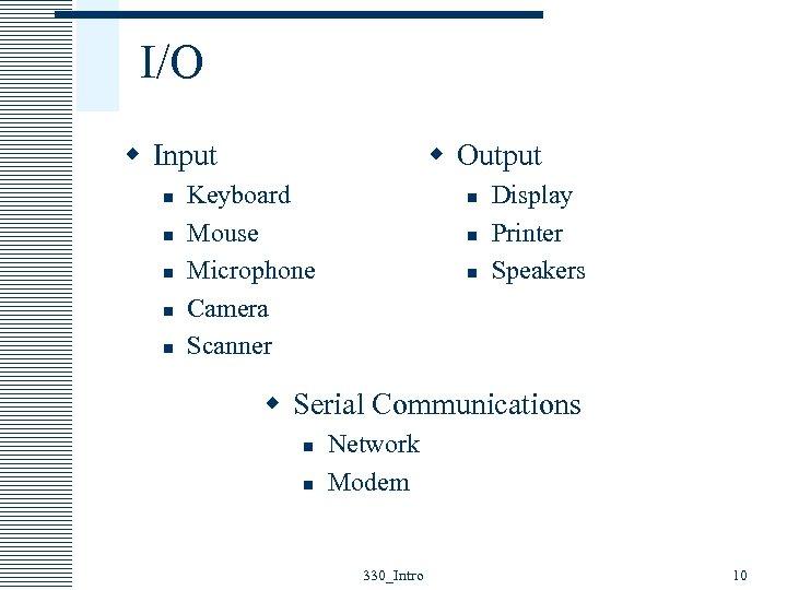 I/O w Input n n n w Output Keyboard Mouse Microphone Camera Scanner n