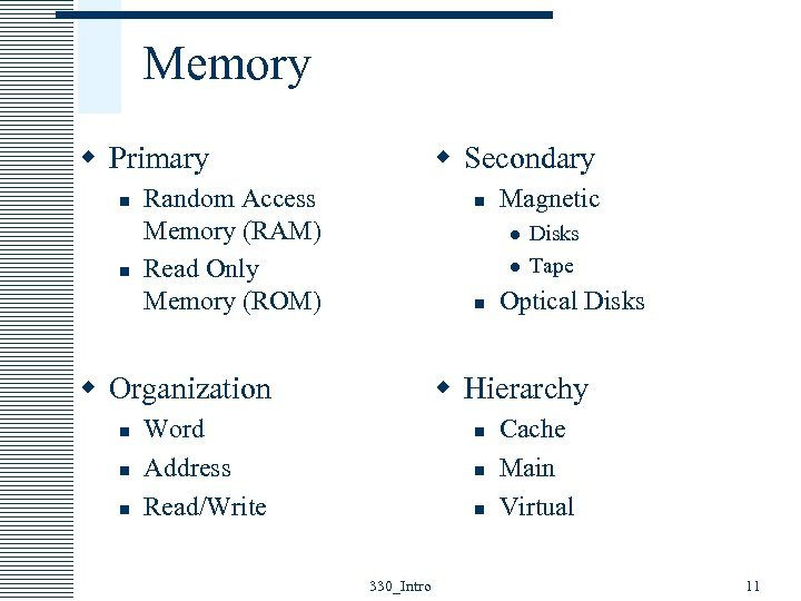 Memory w Primary n n w Secondary Random Access Memory (RAM) Read Only Memory