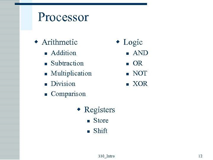 Processor w Arithmetic n n n w Logic Addition Subtraction Multiplication Division Comparison n